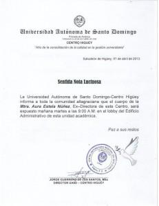 Sentida nota luctuosa a fallecido Aura Estela Núñez ex directora del  C.U.RE
